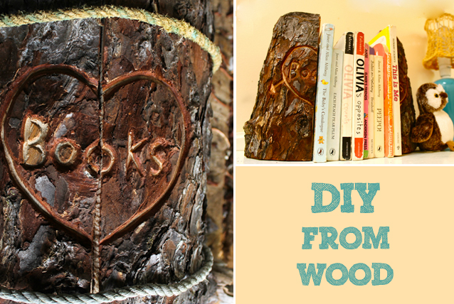 diy wood bookend